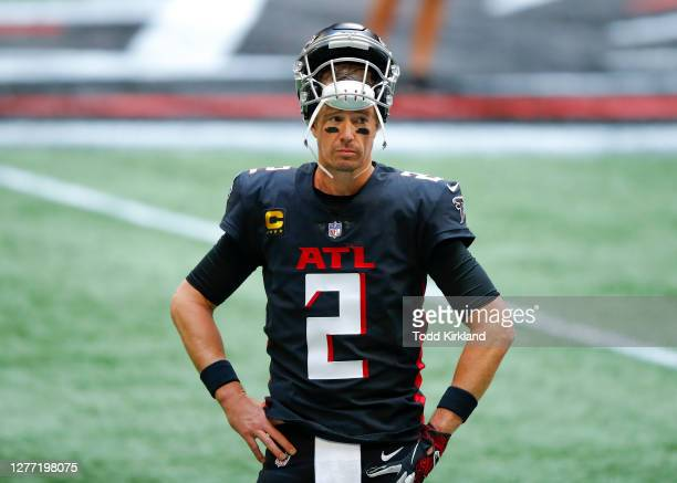 Matt Ryan of the Atlanta Falcons warms up prior to an NFL game against the Chicago Bears at Mercedes-Benz Stadium on September 27, 2020 in Atlanta,...