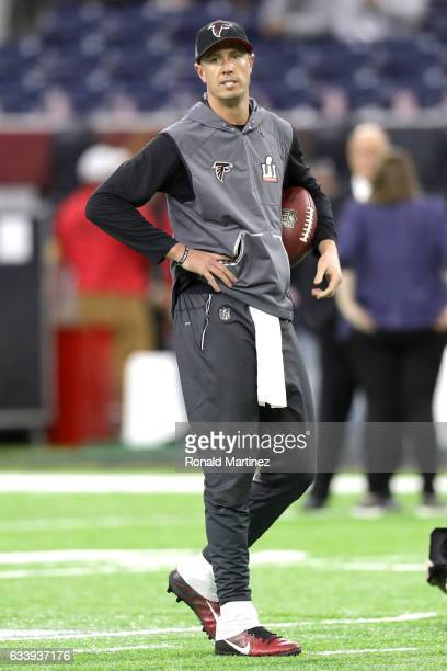 Matt Ryan of the Atlanta Falcons warms up prior to Super Bowl 51 aee at NRG Stadium on February 5 2017 in Houston Texas