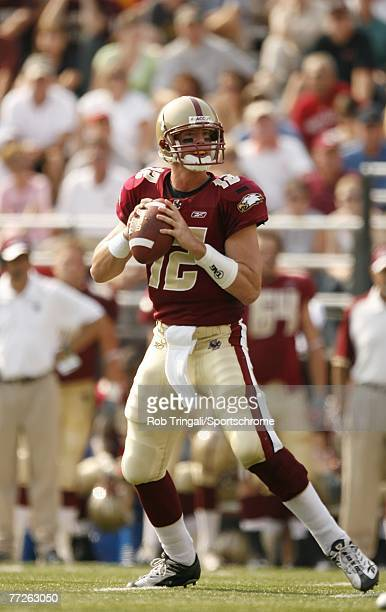 Matt Ryan of the Boston College Eagles drops back to pass against the Bowling Green Falcons on October 6 2007 at Alumni Stadium in Chestnut Hill...