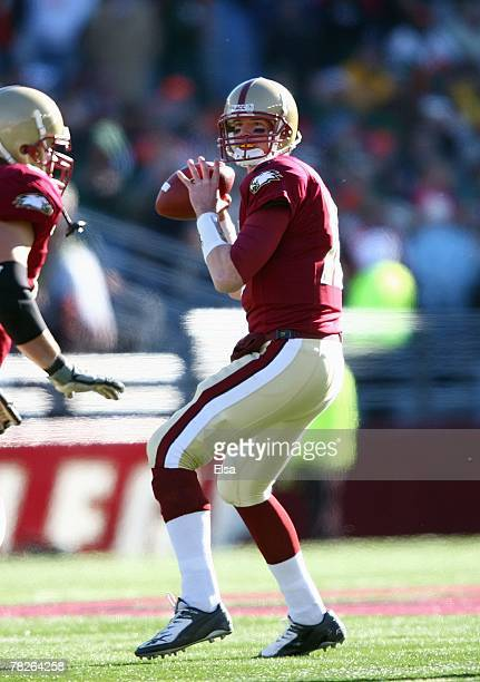 Matt Ryan of the Boston College Eagles passes against the Miami Hurricanes on November 24, 2007 at Alumni Stadium in in Chestnut Hill, Massachusetts....