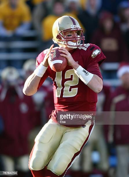 Matt Ryan of the Boston College Eagles passes the ball against the Miami Hurricanes on November 24, 2007 at Alumni Stadium in in Chestnut Hill,...