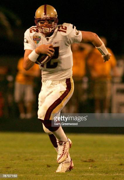 Matt Ryan of the Boston College Eagles scrambles during the Champs Bowl against the Michigan State Spartans on December 28 2007 at the Citrus Bowl in...