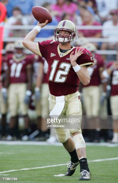 Matt Ryan of the Boston College Eagles throws a pass against the Clemson Tigers during their Atlantic Coast Conference game at Alumni Stadium on...