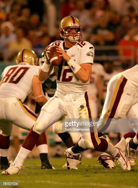 Matt Ryan of the Boston College Eagles throws a pass during the Champs Bowl against the Michigan State Spartans on December 28 2007 at the Citrus...