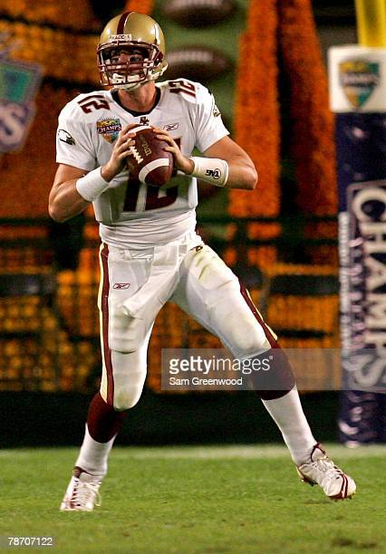 Matt Ryan of the Boston College Eagles throws a passf during the Champs Bowl against the Michigan State Spartans on December 28 2007 at the Citrus...