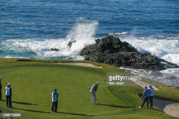 Matt Ryan putts on the seventh hole green during the third round of the ATT Pebble Beach ProAm at Pebble Beach Golf Links on February 9 2019 in...