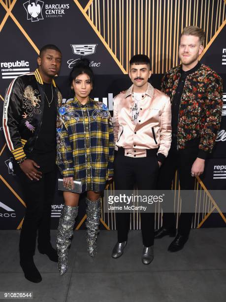 Matt Sallee Kirstin Maldonado Mitch Grassi and Scott Hoying of the group Pentatonix attends Republic Records Celebrates the GRAMMY Awards in...