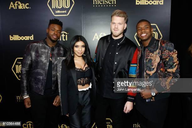 Matt Sallee Kirstin Maldonado Scott Hoying and Kevin Olusola of the Pentatonix attend 2018 Billboard Power 100 List at Nobu 57 on January 25 2018 in...