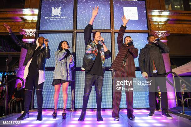 Matt Sallee Kirstin Maldonado Scott Hoying Mitch Grassi and Kevin Olusola of Pentatonix perform at Hudson's Bay And Saks Fifth Avenue Kick Off The...