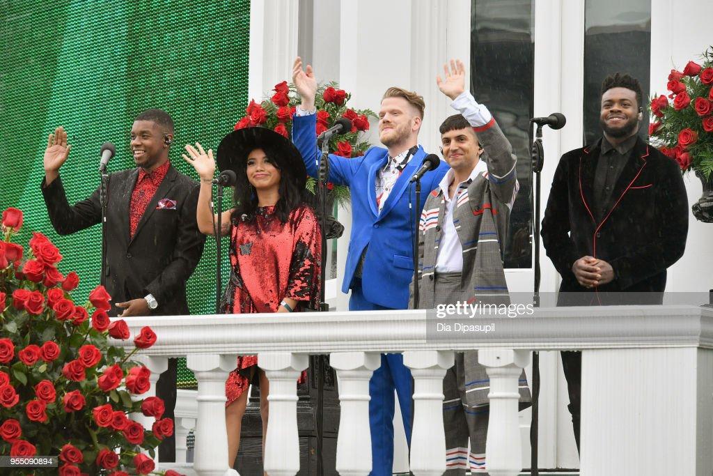 Matt Sallee, Kirstin Maldonado, Scott Hoying, Mitch Grassi, and Kevin Olusola of Pentatonix perform the National Anthem during Kentucky Derby 144 on May 5, 2018 in Louisville, Kentucky.