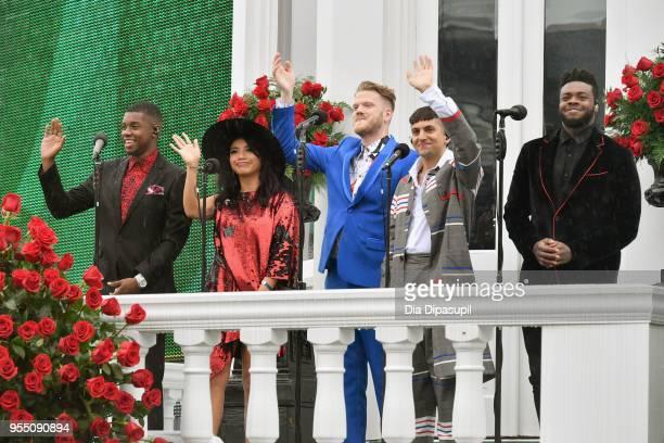 Matt Sallee Kirstin Maldonado Scott Hoying Mitch Grassi and Kevin Olusola of Pentatonix perform the National Anthem during Kentucky Derby 144 on May...