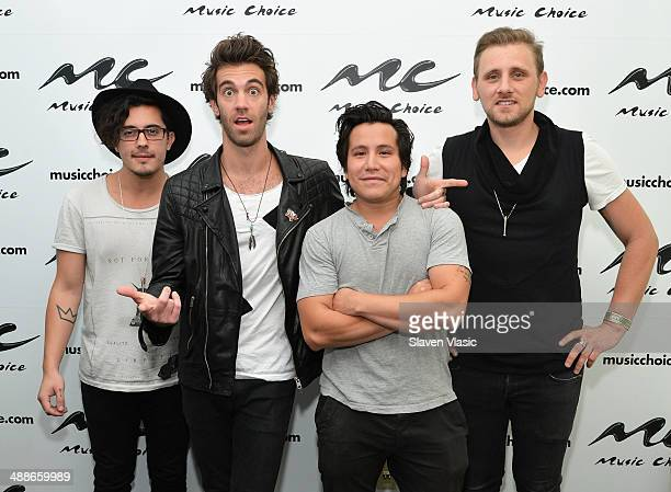 Matt Sanchez Zac Barnett Dave Rublin and James Adam Shelley of American Authors visit Music Choice's 'You A' at Music Choice on May 7 2014 in New...