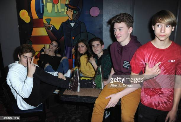 Matt Sato Indiana Massara Mads Lewis Caden Conrique Jojo Tua and Conner Shane attend the Birthday Party For Elam Roberson held at Pinz Bowling on...