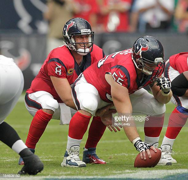 Matt Schaub of the Houston Texans takes a snap from center Chris Myers against the Baltimore Ravens at Reliant Stadium on October 21 2012 in Houston...