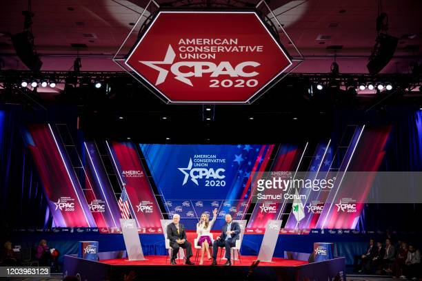 Matt Schlapp Chairman of the American Conservative Union hosts a conversation with Laura Trump President Donald Trumps daughter inlaw and member of...