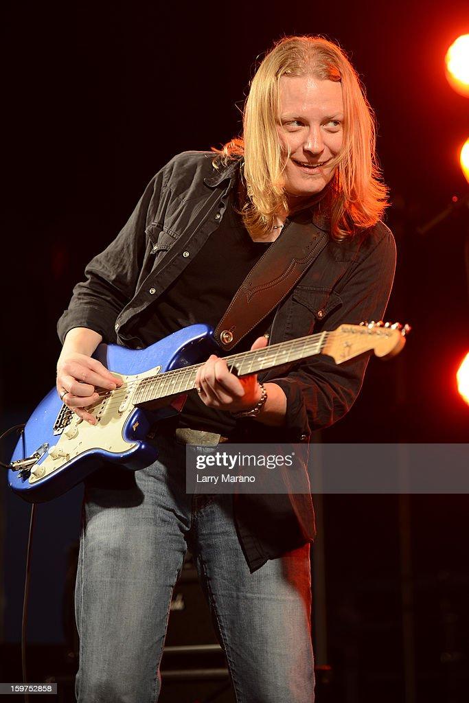Matt Schofield performs during the Sunshine Blues Festival at Mizner Park Amphitheatre on January 19, 2013 in Boca Raton, Florida.