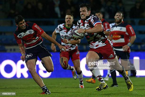 Matt Scott for Edimbourg in action during the European Rugby Challenge Cup match between Agen and Edimbourg at Stade Armandie on November 20 2015 in...