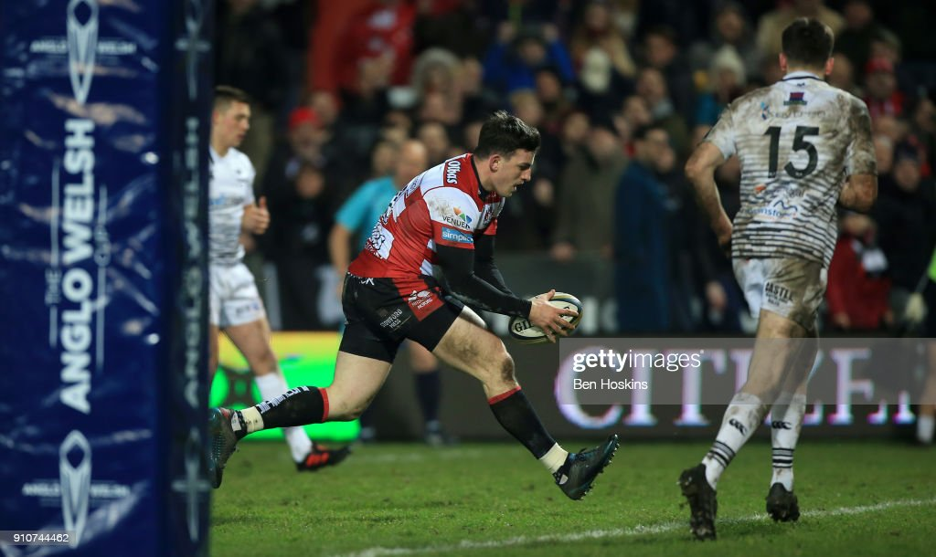 Matt Scott of Gloucester breaks through to score a second half try during the Anglo-Welsh Cup match between Gloucester Rugby and Ospreys at Kingsholm Stadium on January 26, 2018 in Gloucester, England.