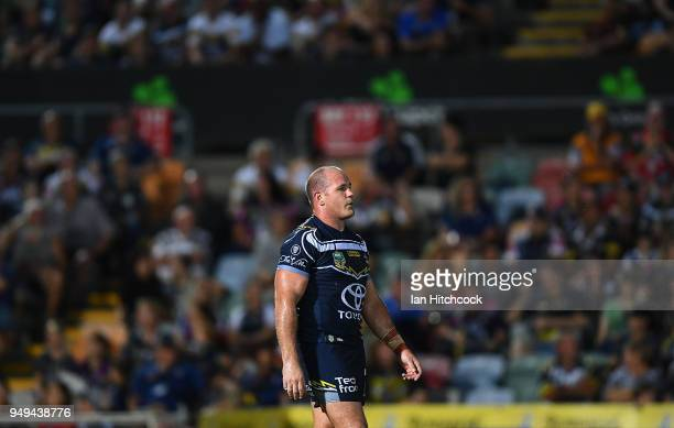 Matt Scott of the Cowboys looks on during the round seven NRL match between the North Queensland Cowboys and the Gold Coast Titans at 1300SMILES...