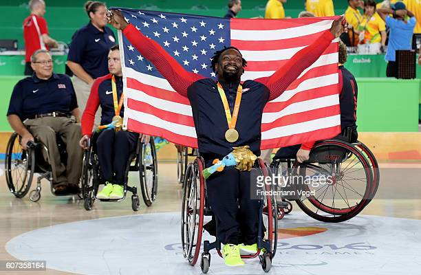 Matt Scott of USA celebrates winning the gold medal after the Men's Wheelchair Basketball Gold Medal match between Spain and USA at Olympic Arena on...