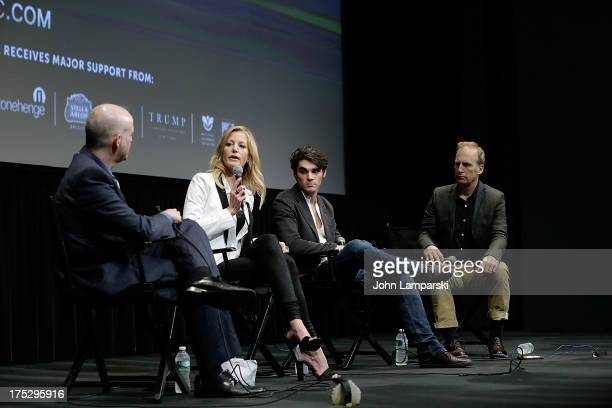 Matt Seitz Anne Gunn RJ Mitte and Bob Odenkirk attend the 'Breaking Bad' Panel Discussion at The Film Society of Lincoln Center on August 1 2013 in...