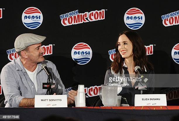 Matt Servitto and Eliza Dushku attend the Banshee panel at New York ComicCon 2015 at The Jacob K Javits Convention Center on October 8 2015 in New...