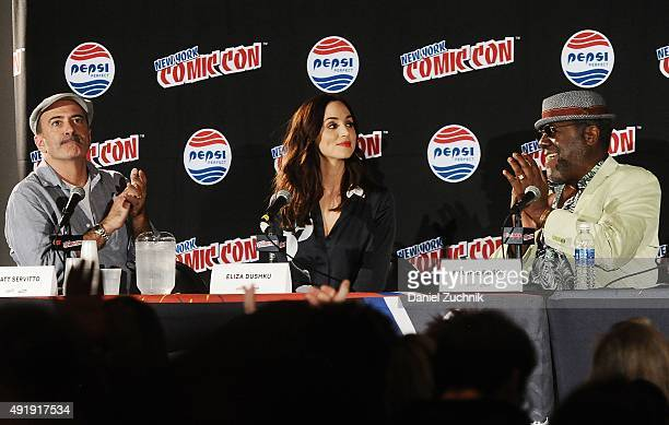 Matt Servitto Eliza Dushku and Frankie Faison attend the Banshee panel at New York ComicCon 2015 at The Jacob K Javits Convention Center on October 8...