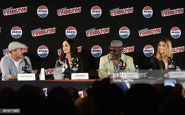 Matt Servitto Eliza Dushku Frankie Faison and Ivana Milicevic attend the Banshee panel at New York ComicCon 2015 at The Jacob K Javits Convention...