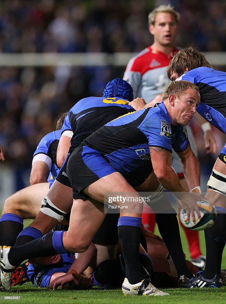 Matt Sheehan of the Force passes the ball during the round 11 Super 14 match between the Western Force and the Crusaders at ME Bank Stadium on April 23, 2010 in Perth, Australia.