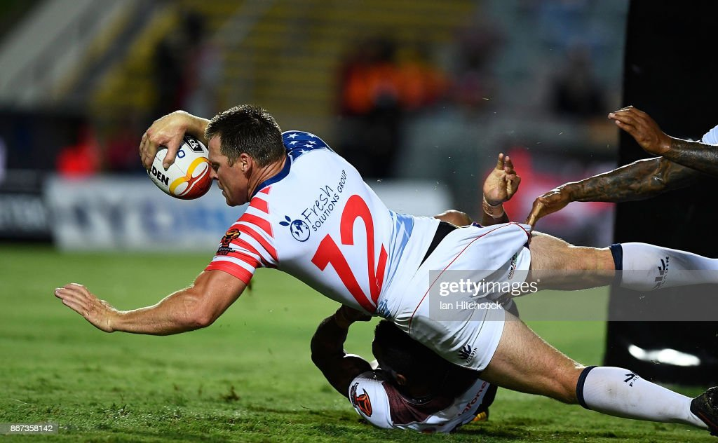 Matt Shipway of the USA scores a try during the 2017 Rugby League World Cup match between Fiji and the United States on October 28, 2017 in Townsville, Australia.