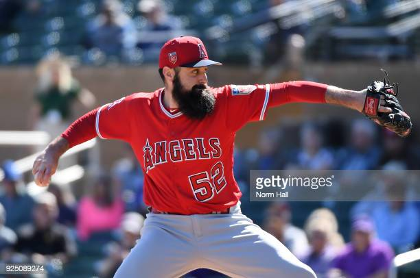 Matt Shoemaker of the Los Angeles Angels of Anaheim delivers a first inning pitch against the Colorado Rockies during a Spring Training game at Salt...