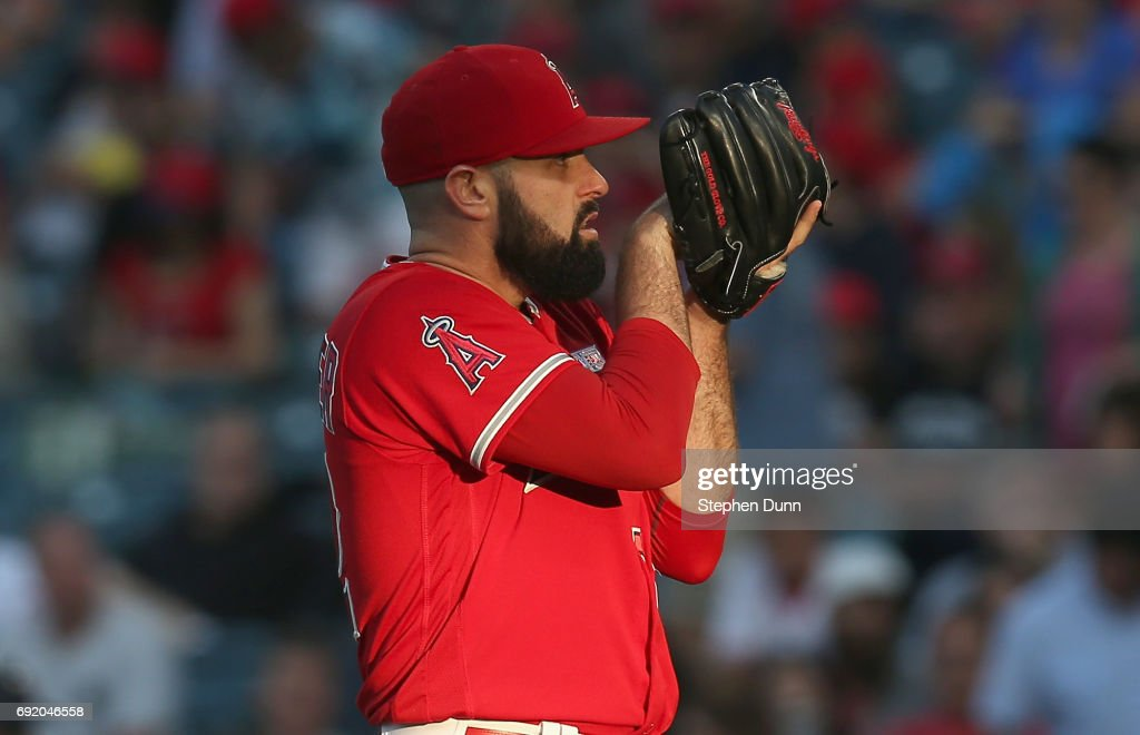 Matt Shoemaker #52 of the Los Angeles Angels of Anaheim gets set to throw a pitch against the Minnesota Twins in the first inning at Angel Stadium of Anaheim on June 3, 2017 in Anaheim, California.