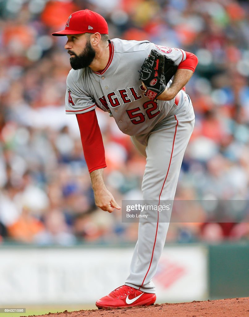 Matt Shoemaker #52 of the Los Angeles Angels of Anaheim pitches in the first inning against the Houston Astros at Minute Maid Park on June 9, 2017 in Houston, Texas.