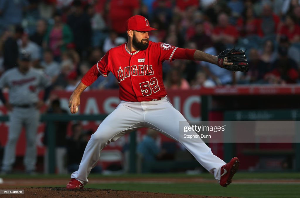 Matt Shoemaker #52 of the Los Angeles Angels of Anaheim throws a pitch against the Minnesota Twins in the first inning at Angel Stadium of Anaheim on June 3, 2017 in Anaheim, California.
