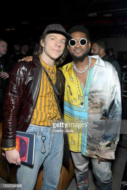 Matt Shultz of Cage The Elephant and Usher attend the Sony Music Entertainment 2020 PostGrammy Reception at NeueHouse Hollywood on January 26 2020 in...