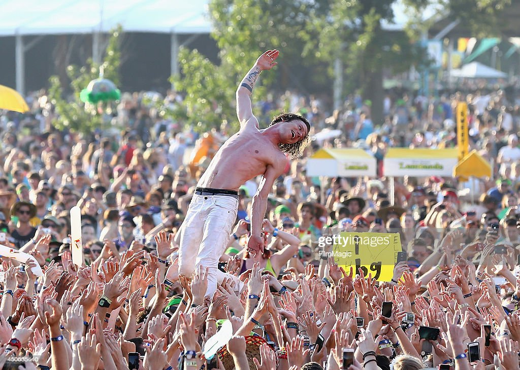 Matt Shultz of Cage the Elephant performs at Which Stage during day 3 of the 2014 Bonnaroo Arts And Music Festival on June 14, 2014 in Manchester, Tennessee.