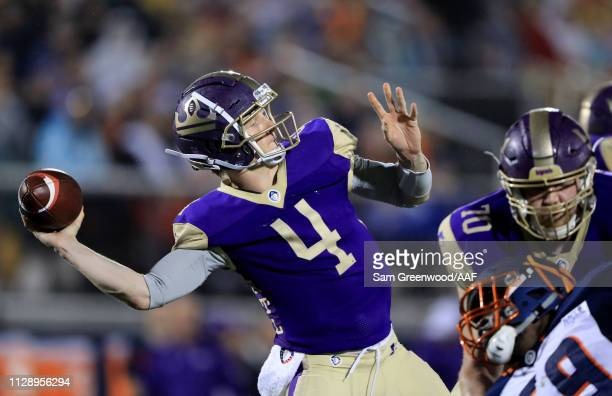 Matt Simms of Atlanta Legends attempts a pass during the Alliance of American Football game against the Orlando Apollos at Spectrum Stadium on...