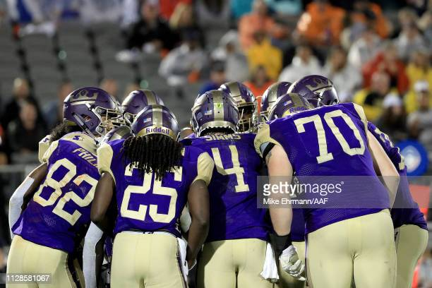 Matt Simms of Atlanta Legends huddles with his team against the Orlando Apollos during the third quarter on February 09 2019 in Orlando Florida