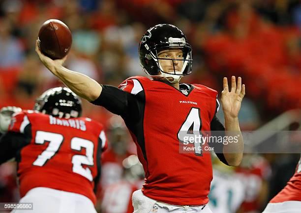 Matt Simms of the Atlanta Falcons looks to pass against the Jacksonville Jaguars at Georgia Dome on September 1 2016 in Atlanta Georgia