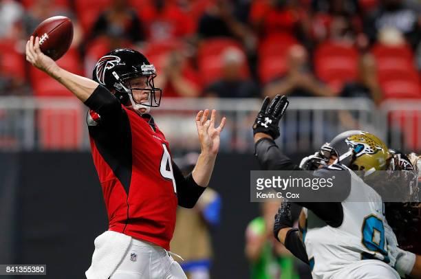Matt Simms of the Atlanta Falcons looks to pass against the Jacksonville Jaguars at MercedesBenz Stadium on August 31 2017 in Atlanta Georgia