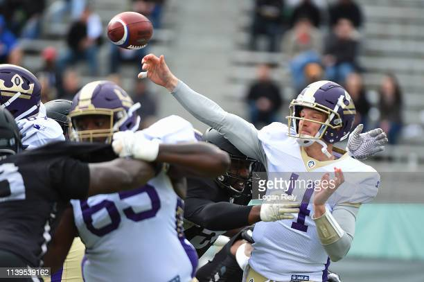 Matt Simms of the Atlanta Legends looks to make a pass during the first half of the Alliance of American Football game against the Birmingham Iron at...