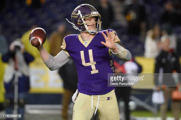 Matt Simms of the Atlanta Legends throws a pass in the second quarter against the San Diego Fleet during the Alliance of American Football game at...