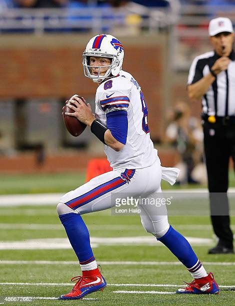 Matt Simms of the Buffalo Bills drops back to pass during the preseason game against the Detroit Lions on September 3 2015 at Ford Field Detroit...