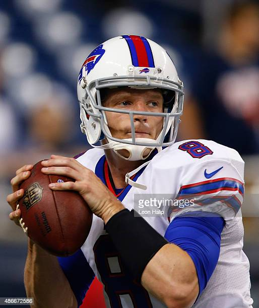 Matt Simms of the Buffalo Bills warms up prior to the start of the preseason game against the Detroit Lions on September 3 2015 at Ford Field Detroit...