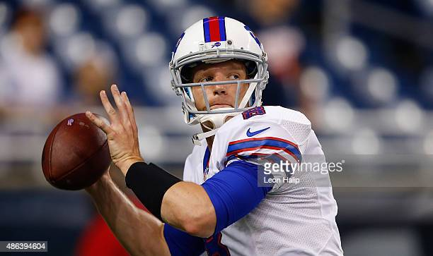 Matt Simms of the Buffalo Bills warmups prior to the start of the game against the Detroit Lions during the preseason game on September 3 2015 at...