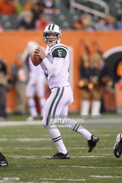 Matt Simms of the New York Jets drops back to pass during the game against the Cincinnati Bengals at Paul Brown Stadium on October 27 2013 in...
