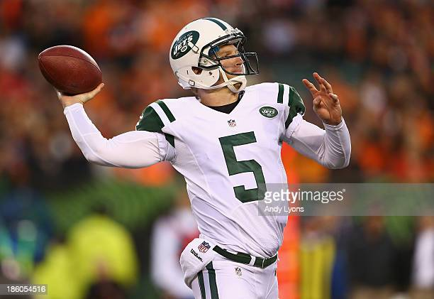 Matt Simms of the New York Jets throws a pass during the NFL game against the Cincinnati Bengals at Paul Brown Stadium on October 27 2013 in...