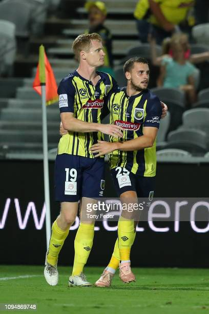 Matt Simon and Jordan Murray of the Central Coast Mariners celebrate a goal during the round 12 ALeague match between the Central Coast Mariners and...