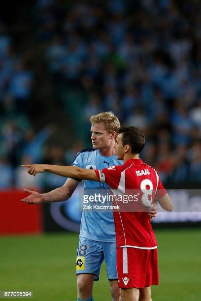 Matt Simon of Sydney and Isaias of Adelaide react after a melee disrupted gameplay and Michael Marrone of Adelaide was sent off during the FFA Cup...