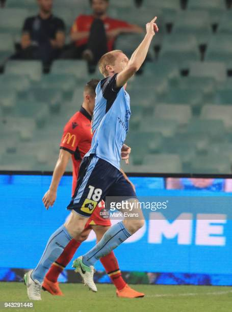 Matt Simon of Sydney FC celebrates a goal during the round 26 ALeague match between Sydney FC and Adelaide United at Allianz Stadium on April 8 2018...